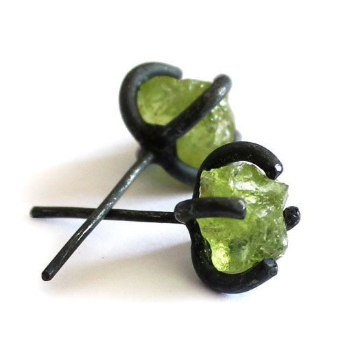 Raw Peridot Stud Earrings in Vintage Silver Handmade Gemstone Jewelry Women Men