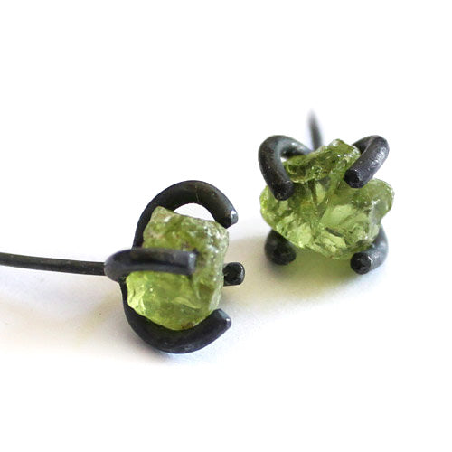 Raw Peridot Stud Earrings Vintage Silver Handmade Gemstone-Jewelry gift Women