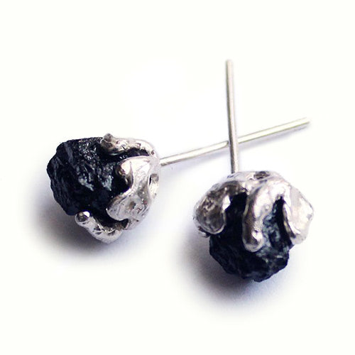 Raw Tourmaline Stud Earrings silver Handmade Gemstone Jewelry Women