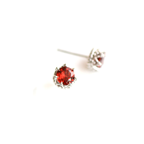Red Garnet Stud Earrings in Sterling Silver Handmade Jewelry Accessories Women