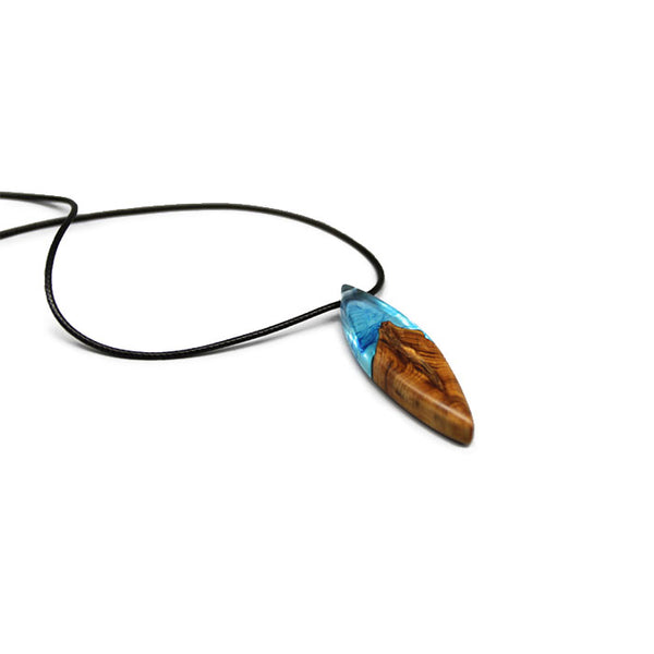 Resin Wood Pendant Necklace Unique Handmade Natural Jewelry Accessories Women Men blue