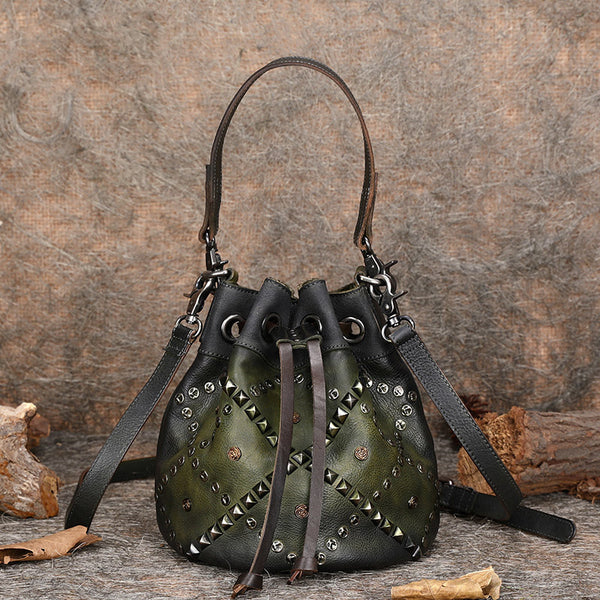 Rivets Leather Bucket Bag Designer Crossbody Bags Purse for Women beautiful