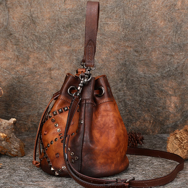 Rivets Leather Bucket Bag Designer Crossbody Bags Purse for Women best