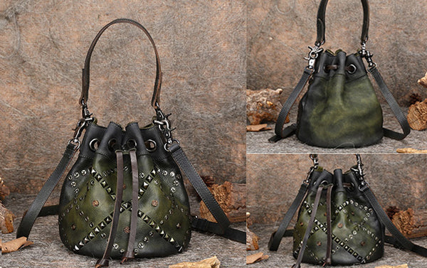 Rivets Leather Bucket Bag Designer Crossbody Bags Purse for Women cool