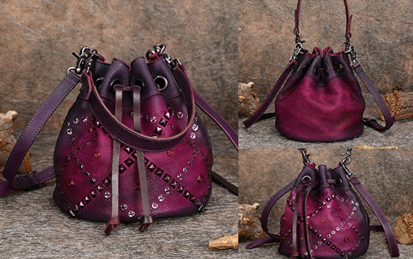 Rivets Leather Bucket Bag Designer Crossbody Bags Purse for Women cowhide