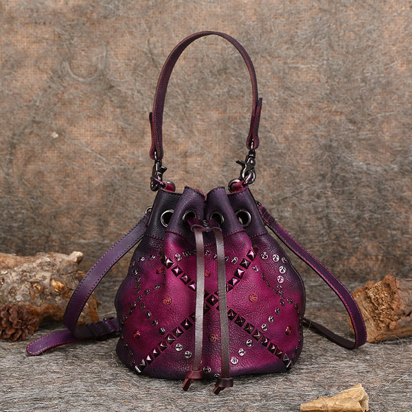 Rivets Leather Bucket Bag Designer Crossbody Bags Purse for Women