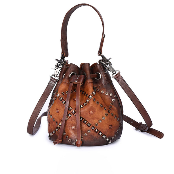 Rivets Leather Bucket Bag Designer Crossbody Bags