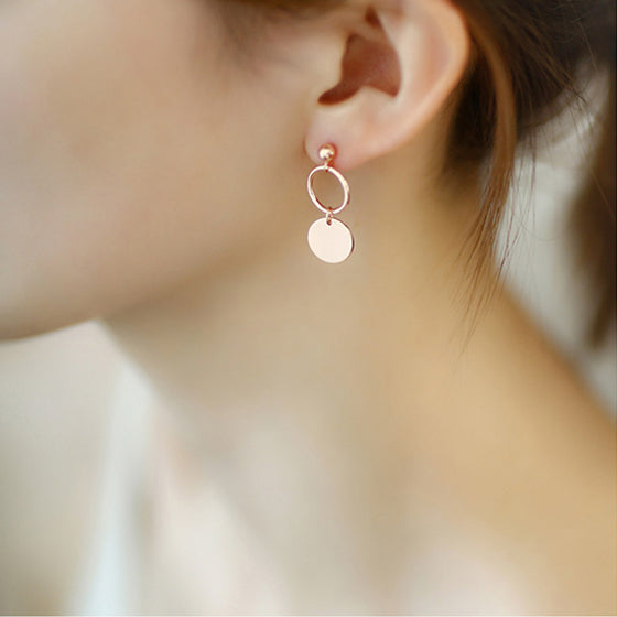 Rose Gold Sterling Silver Asymmetric Stud Dangle Earrings Handmade Jewelry Accessories Women elegant