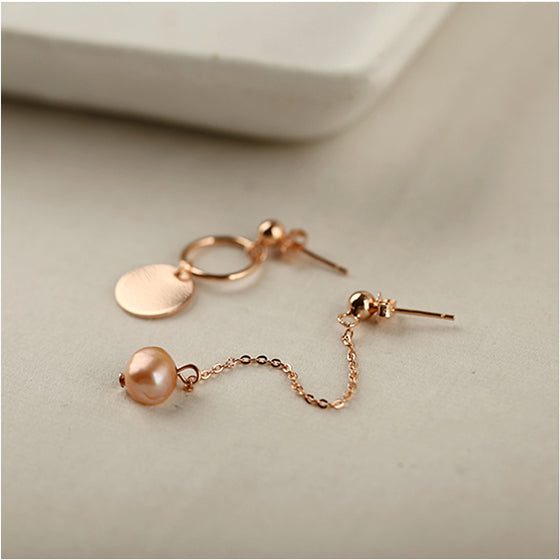 Rose Gold Sterling Silver Asymmetric Stud Dangle Earrings Handmade Jewelry Accessories Women fashionable