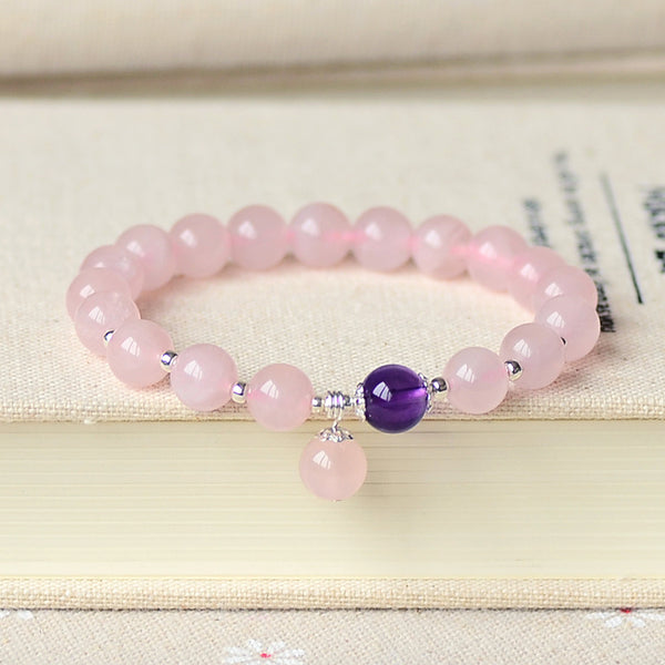 Rose Quartz Amethyst Silver Bead Bracelet Handmade Jewelry Accessories Gifts Women adorable
