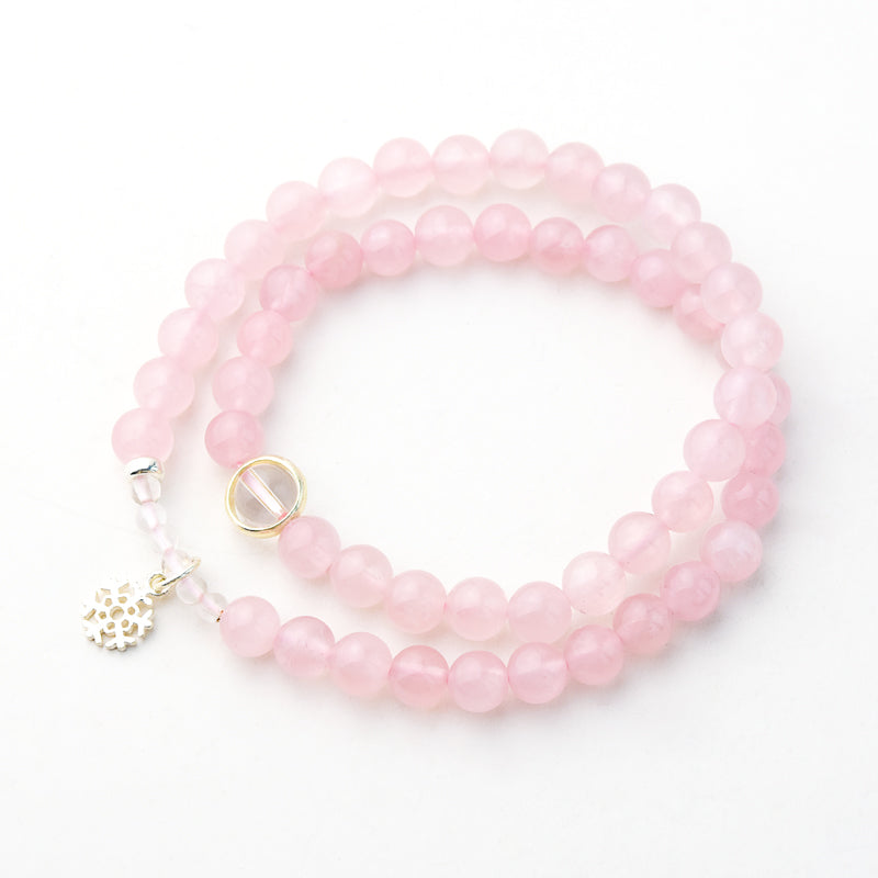 Rose Quartz Bead Silver Bracelets Handmade Jewelry Accessories Women beautiful