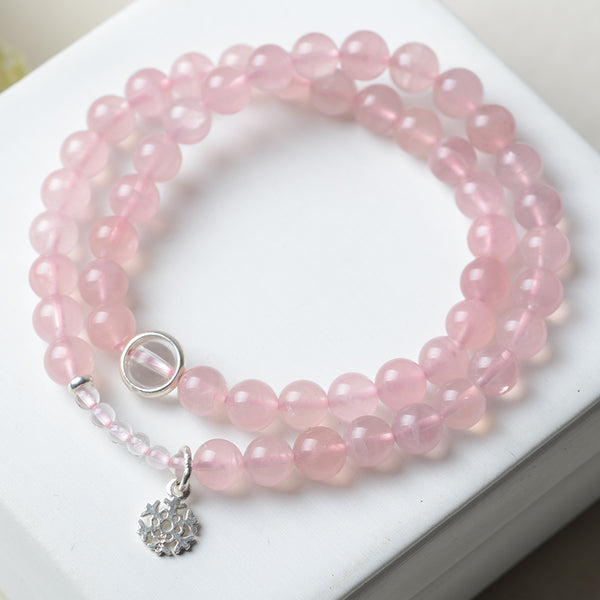 Double Strand Rose Quartz Bead with Silver Snowflake Bracelets Handmade Jewelry Women