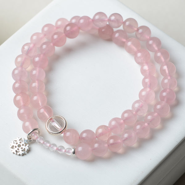 Rose Quartz Bead Silver Bracelets Handmade Jewelry Accessories Women adorable