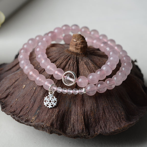Rose Quartz Bead Silver Bracelets Handmade Jewelry Accessories Women
