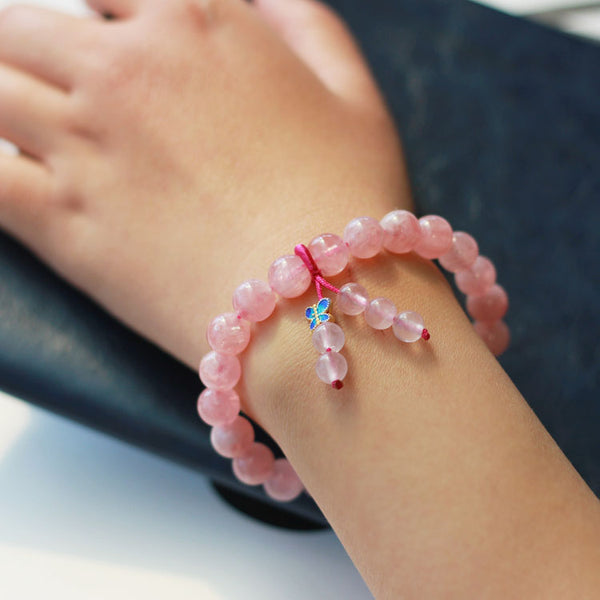 Rose Quartz Beaded Bracelet Handmade Gemstone Jewelry Accessories Gifts Women adorable