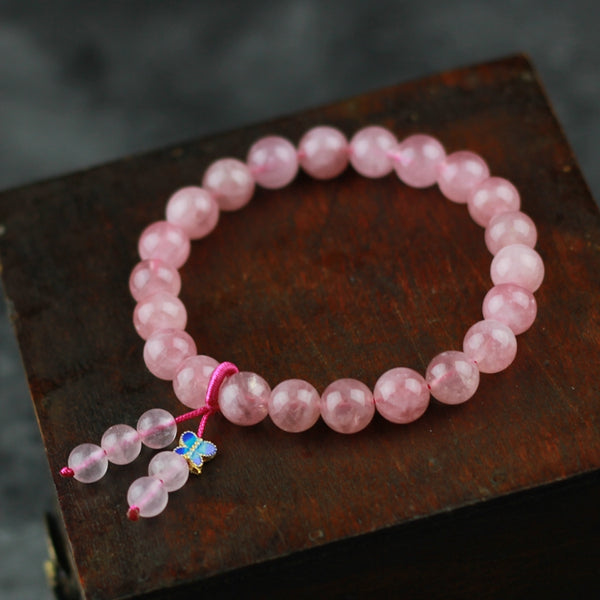 Rose Quartz Beaded Bracelet Handmade Gemstone Jewelry Accessories Gifts Women chic