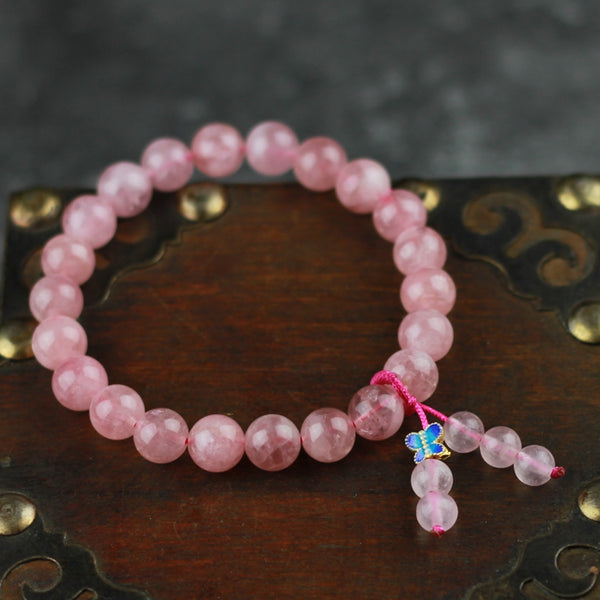 Rose Quartz Beaded Bracelet Handmade Gemstone Jewelry Accessories Gifts Women cute