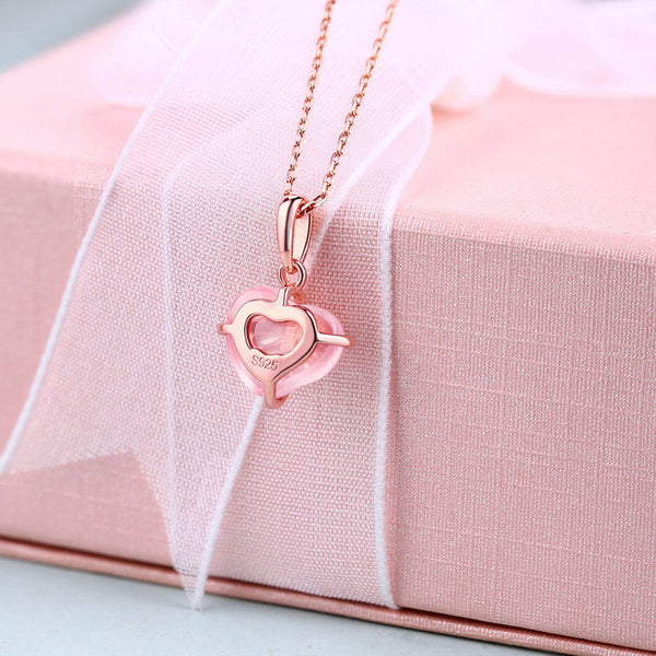 Bowknot Rose Quartz Citrine Cute Heart Pendant Necklace in Silver Jewelry Accessories Women