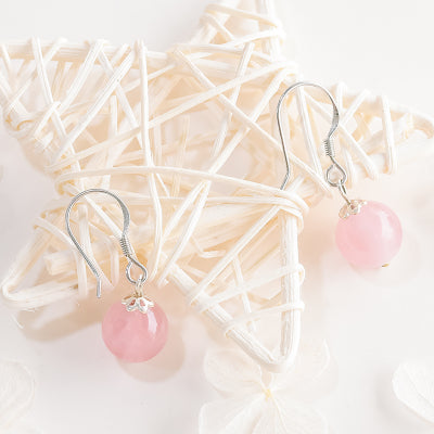 Rose Quartz Crystal Bead Drop Earrings Handmade Jewelry Accessories Women adorable