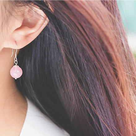 Rose Quartz Crystal Bead Drop Earrings Handmade Jewelry Accessories Women cute