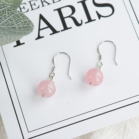 Rose Quartz Crystal Bead Drop Earrings Handmade Jewelry Accessories Women