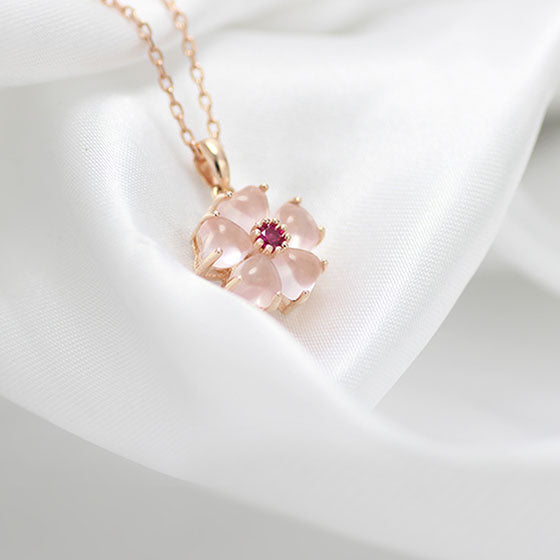 Rose Quartz Crystal Pendant Necklace in Gold Plated Silver Gemstone Jewelry Accessories Women