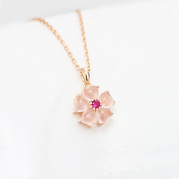 Rose Quartz Crystal Pendant Necklace Gold Silver Gemstone Jewelry Accessories Women
