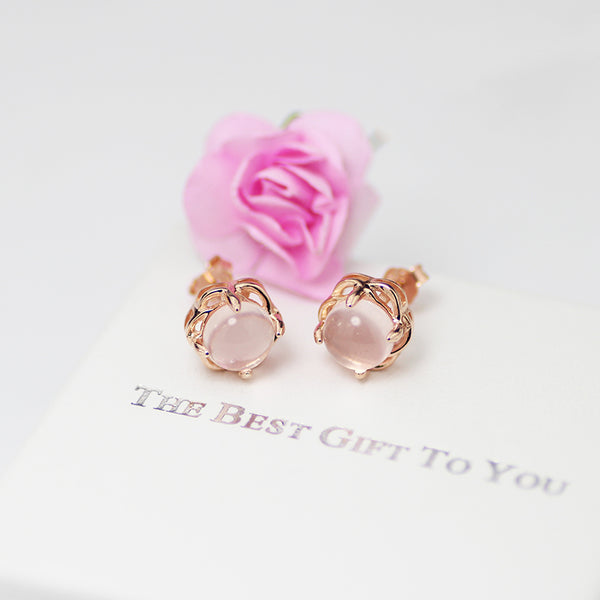 Rose Quartz Crystal Stud Earrings Gold Silver Gemstone Jewelry Accessories Gifts Women beautiful