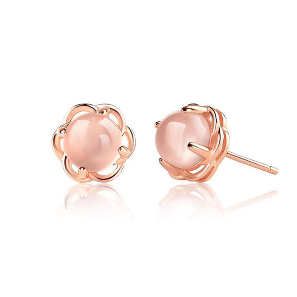Rose Quartz Crystal Stud Earrings Gold Silver Gemstone Jewelry Accessories Gifts Women cute