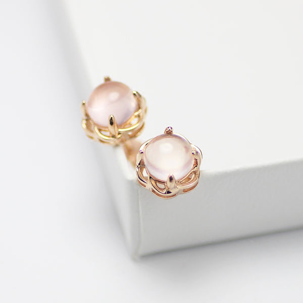 Rose Quartz Crystal Stud Earrings Gold Silver Gemstone Jewelry Accessories Gifts Women pink