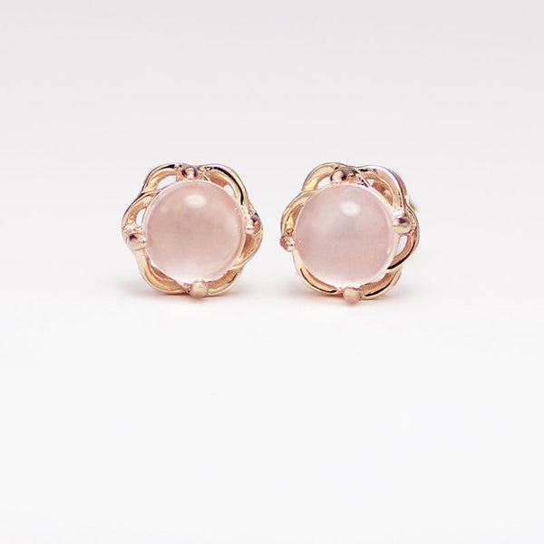 Rose Quartz Crystal Stud Earrings Gold Silver Gemstone Jewelry Accessories Gifts Women