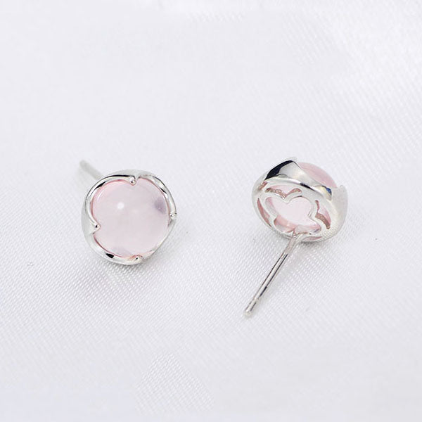 Rose Quartz Crystal Stud Earrings Silver Gemstone Jewelry Accessories Gifts Women back