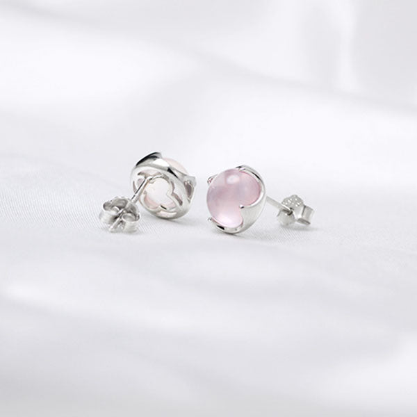 Rose Quartz Crystal Stud Earrings Silver Gemstone Jewelry Accessories Gifts Women beautifful