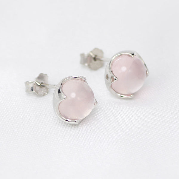 Rose Quartz Crystal Stud Earrings Silver Gemstone Jewelry Accessories Gifts Women girls