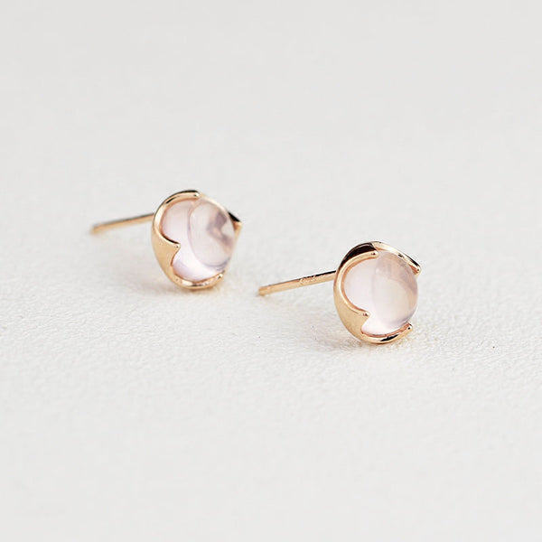 Rose Quartz Crystal Stud Earrings Silver Gemstone Jewelry Accessories Gifts Women gold