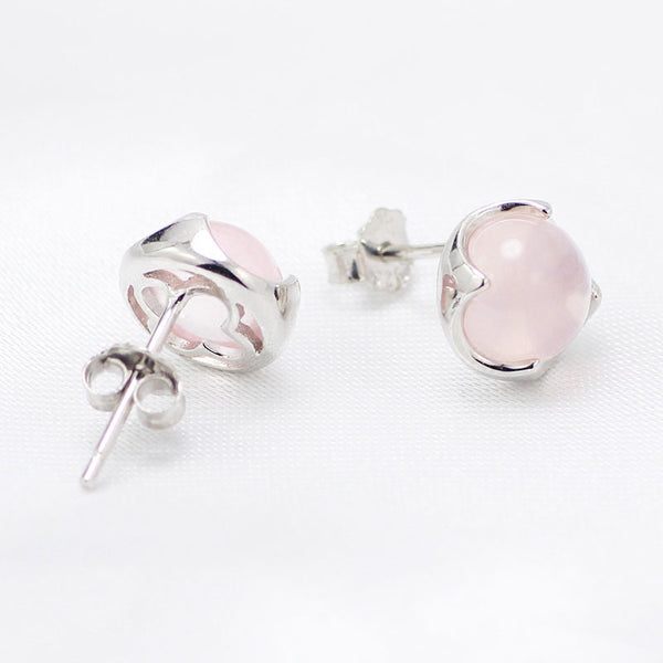 Rose Quartz Crystal Stud Earrings Silver Gemstone Jewelry Accessories Gifts Women pink