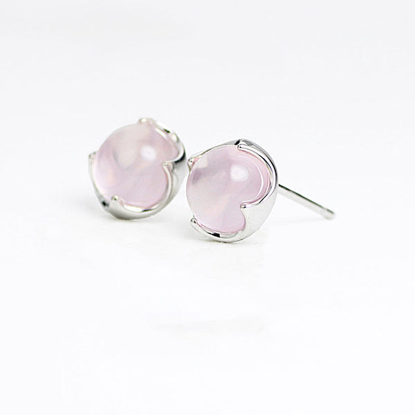 Rose Quartz Crystal Stud Earrings Silver Gemstone Jewelry Accessories Gifts Women