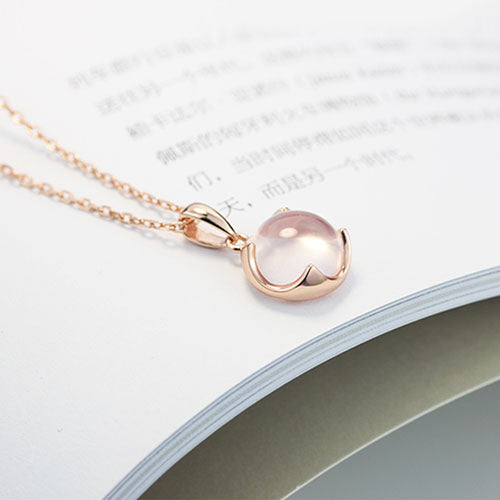Rose Quartz Pendant Necklace Gold Silver Jewelry Accessories Gift Women adorable