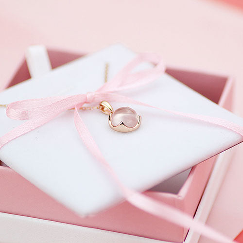 Rose Quartz Pendant Necklace Gold Silver Jewelry Accessories Gift Women beautiful