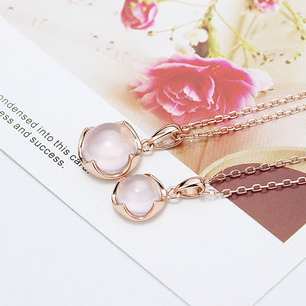 Rose Quartz Pendant Necklace Gold Silver Jewelry Accessories Gift Women girls
