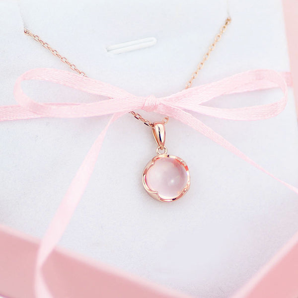 Rose Quartz Pendant Necklace Gold Silver Jewelry Accessories Gift Women