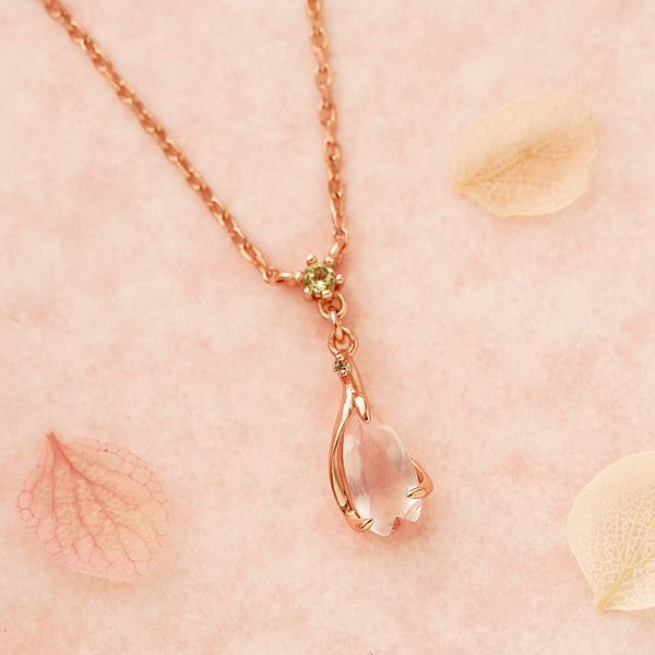 Rose Quartz Pendant Necklace Gold Sterling Silver Jewelry Accessories Women adorable