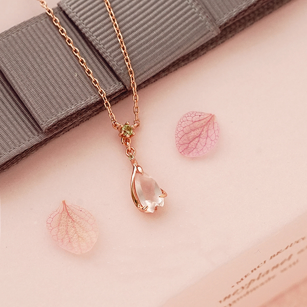 Rose Quartz Pendant Necklace Gold Sterling Silver Jewelry Accessories Women elegant