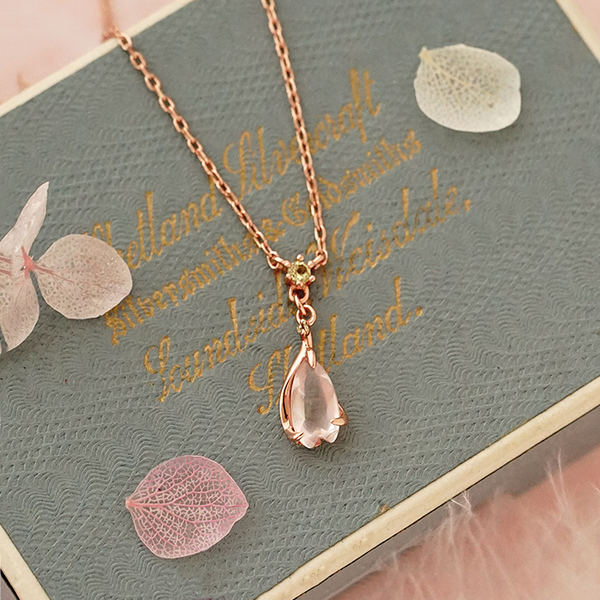 Rose Quartz Pendant Necklace Gold Sterling Silver Jewelry Accessories Women fashionable