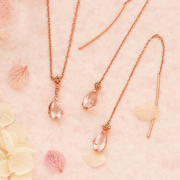 Rose Quartz Pendant Necklace Gold Sterling Silver Jewelry Accessories Women