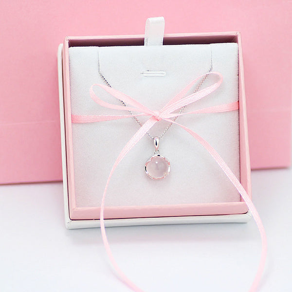Rose Quartz Pendant Necklace Silver Jewelry Accessories Gift Women girls