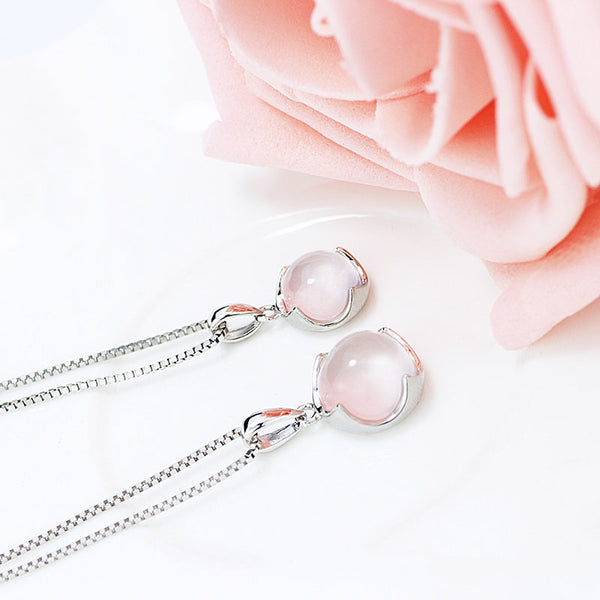 Rose Quartz Pendant Necklace Silver Jewelry Accessories Gift Women