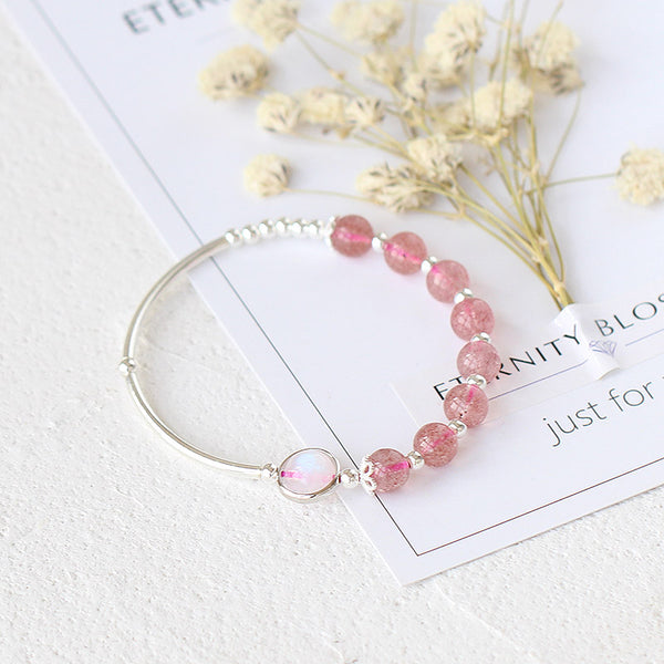 Rose Strawberry Quartz Crystal Sterling Silver Bead Bracelet Handmade Jewelry Women adorable