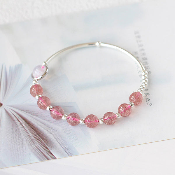 Rose Strawberry Quartz Crystal Sterling Silver Bead Bracelet Handmade Jewelry Women charming