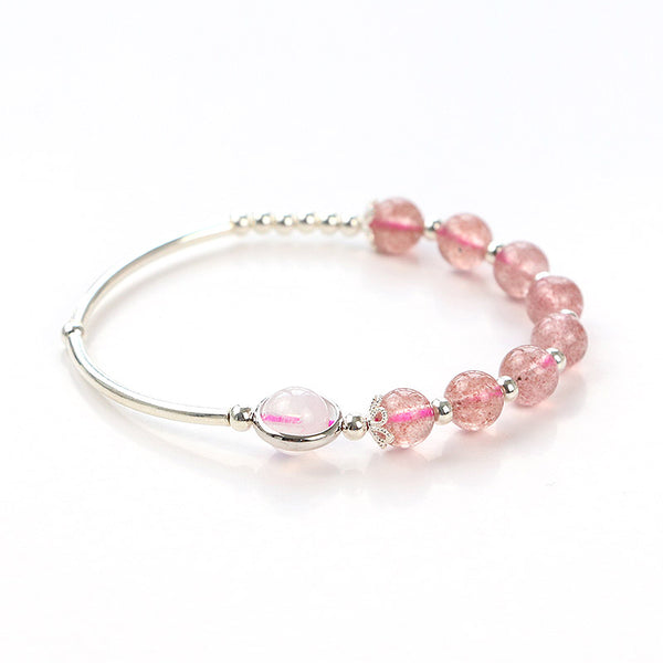 Rose Strawberry Quartz Crystal Sterling Silver Bead Bracelet Handmade Jewelry Women cute